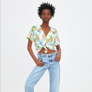 Zara crop short sleeve print shirt XS tropical